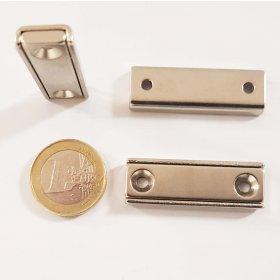 Imán de neodimio rectangular con orificio de fijación 40 x 13,5 mm