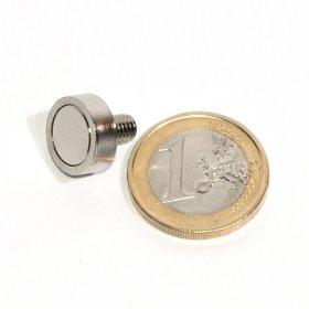 Pot neodymium magnet with external thread Ø 0,51in