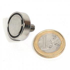 Pot neodymium magnet with external thread Ø 0,79in
