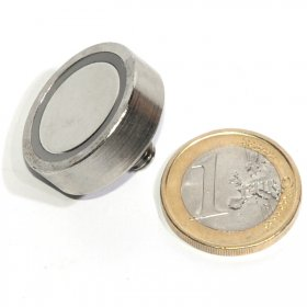 Pot neodymium magnet with external thread Ø 0,98in  M5