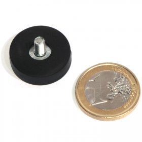 slip-resistant rubber coated round base magnet with a threaded rod Ø0,87in