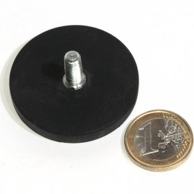 slip-resistant rubber coated round base magnet with a threaded rod Ø1,69in