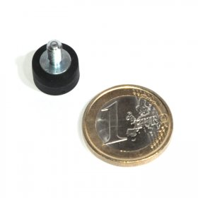 slip-resistant rubber coated round base magnet with a threaded rod Ø12mm