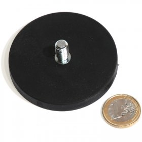 slip-resistant rubber coated round base magnet with a threaded rod Ø2,60in