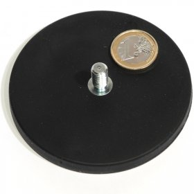 slip-resistant rubber coated round base magnet with a threaded rod Ø3,46in