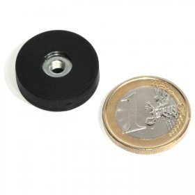 slip-resistant rubber coated round base magnet with drilled hole Ø22mm