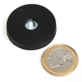 slip-resistant rubber coated round base magnet with drilled hole Ø31mm