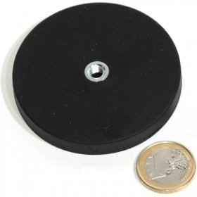 slip-resistant rubber coated round base magnet with drilled hole Ø66mm