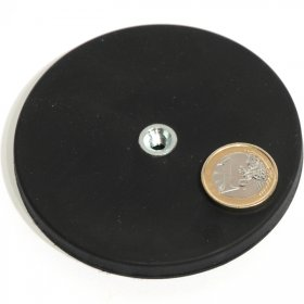 slip-resistant rubber coated round base magnet with drilled hole Ø88mm