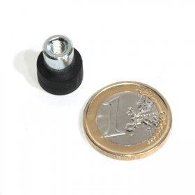 slip-resistant rubber coated round base magnet with threaded stud Ø12mm