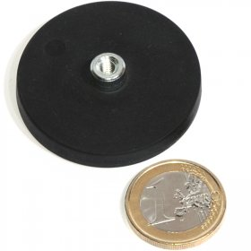 slip-resistant rubber coated round base magnet with threaded stud Ø43mm