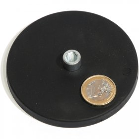 slip-resistant rubber coated round base magnet with threaded stud Ø88mm
