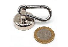 Magnete con base in acciaio con moschettone Ø 25 mm