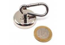 Magnete con base in acciaio con moschettone Ø 32 mm